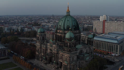 AERIAL: Circling Berlin Cathedral beautiful old structure in vibrant fall colors Live Action
