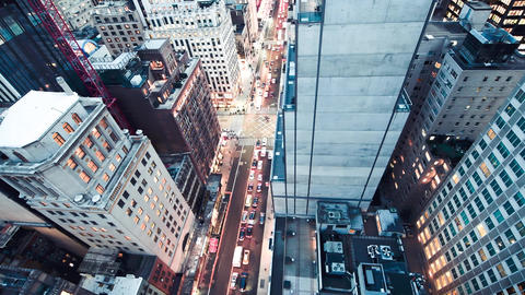 Slow motion aerial overhead view of Manhattan night traffic in slow motion, New Live Action