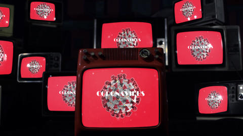 Coronavirus and Old Televisions. Covid-19 Pandemic Outbreak Concept Live Action