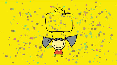 draw of a strong youth girl lifting a enormous luggage over her head suggesting muscle or overweight Animation