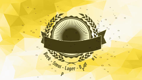 handicraft beer design with overflowing bavarian mug in the center of disk graphic with hops and Animation
