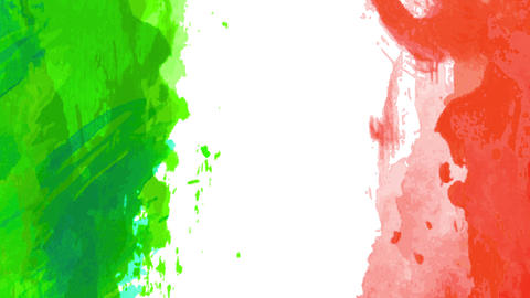 mexican flag animated design with green and red painted with watercolor over white background Animation