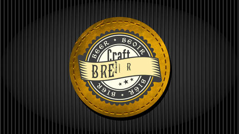 craft beer brewery design with vintage celtic styled typography written on rounded leather print Animation