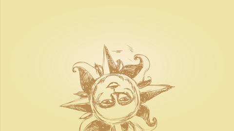 esoteric sun doodle composed with a human face surrounded by spikes and tentacles drawn with pencil Animation