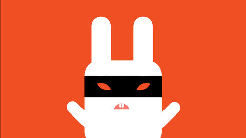funny white evil square rabbit wearing a black ninja mask over its angry orange eyes Animation