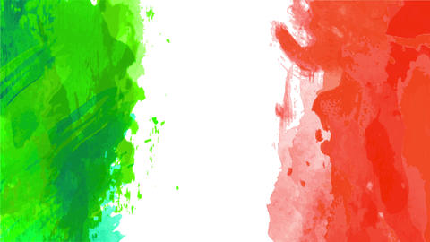 mexican flag animation with green and red colors painted with watercolor on the edge of a white Animation