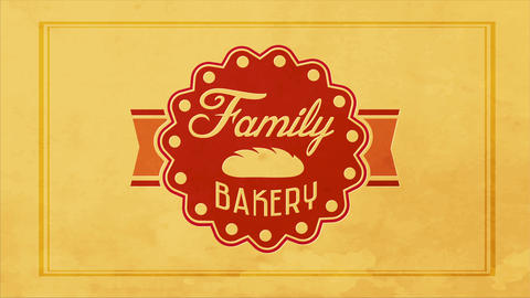 family bakery products design with a 50s look and classic styled circular graphic with retro Animation