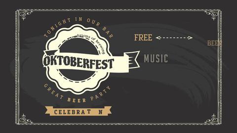 grunge oktoberfest pub design with old fashion celtic typography written all over vintage chalkboard Animation