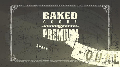 toasted goods bakery products design with several types of dusty out retro texture writing drawn Animation