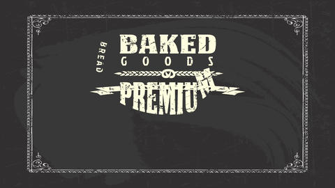 baked goods bakery products design with various types of worn out retro texture lettering drawn with Animation