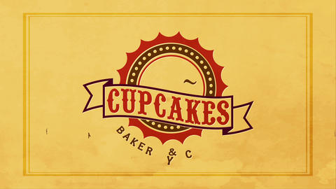 worn napkin with and dirty retro classic stamp in the central of a cupcakes bakehouse Animation