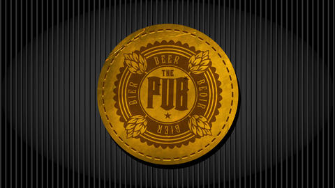 golden retro beer pub design made with old fashion wrinkled leather circle embroidered to an elegant Animation