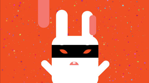 funny white evil square hare wear a black ninja hide over its troubled orange stare Animation