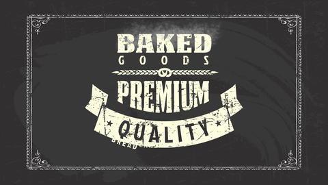 toasted goods bakehouse products design with several types of tattered out retro texture writing Animation