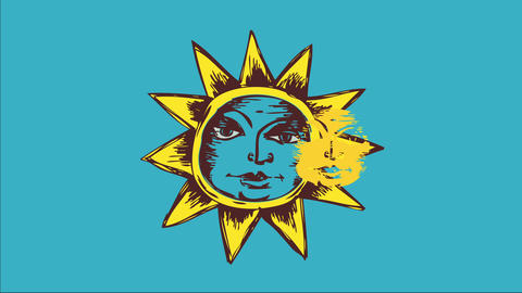 antique sun cartoon with serene facial drawn with crayon lines like draw multicolored with yellow Animation