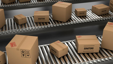 3D delivery paper boxes and cardboxes are moving on conveyor belt for loop Animation