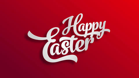 happy easter greeting card design made with big white 3d classical typography over a bright red Animation