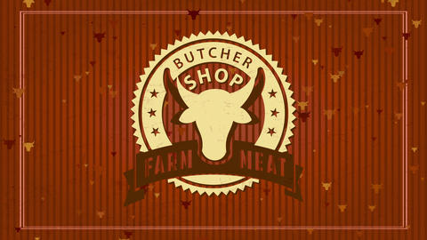 farm meat butcher store design with trimmed paper illustration with male head inside oval zigzagged Animation