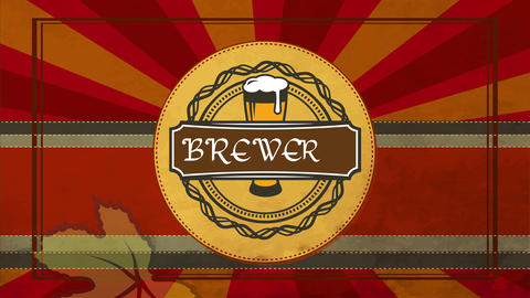 craft beer brewery product design on round textile texture graphic adorned with foam beer glass with Animation
