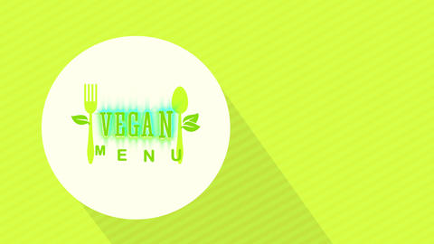 vegetable and vegan nutrient bistro design with eco kind cutlery graphics on white round floating on Animation