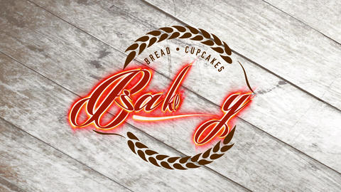 retro vintage loaf and cupcakes bakery design with grain branches creating a circled visual with Animation