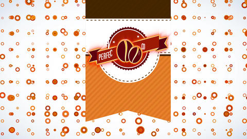 quality coffee bag design with pea doodles in the center of disk detailed and a ribbon written with Animation