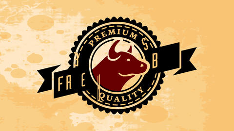 butchery design with cows head and words premium quality beef written with retro typography above a Animation