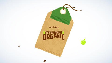 natural premium organic farm products concept art designed like hanging cardboard tag made of Animation