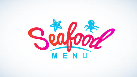 seafood cuisine concept art with playful rounded typography mixing psychedelic colors decorated with Animation