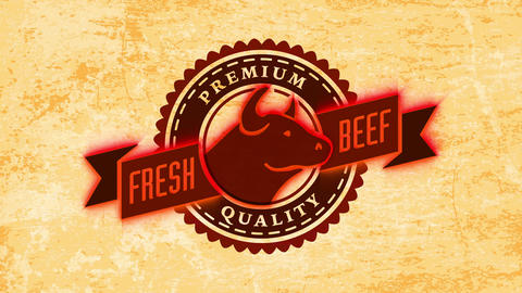 fancy quality fresh beef killing design with wheel illustration and majestic male with pointy horn Animation