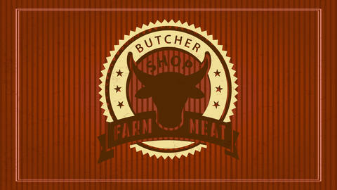 farm meat butcher shop design with trimmed paper graphic with bulls head inside rounded zigzagged Animation