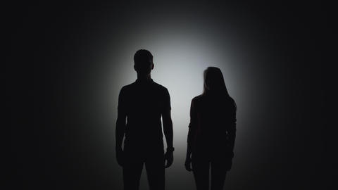A silhouette of a man stands next to a silhouette of a woman and takes her hand Live Action
