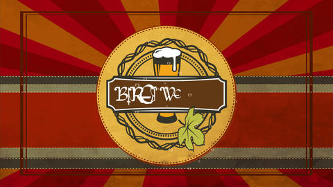 handiwork brew brewery product design on curve cloth texture graphic fancy with froth brew glassware Animation