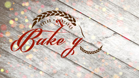 retro aged bread and cupcakes cookery design with grain branches creating a circled visual with text Animation