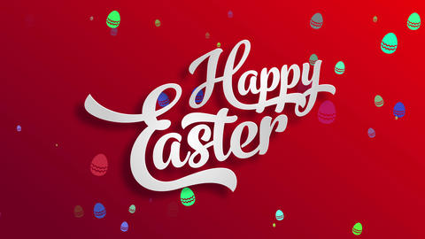 joyful easter reception card design made with big white 3d traditional typography over a bright red Animation