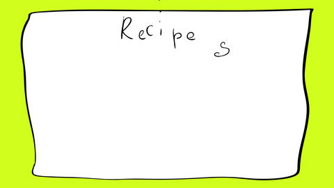 cute little kid doodle design wearing a chef hat drawn on the corner a blank paper sheet with the Animation