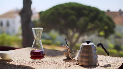 Making speciality coffee at home. Filter coffee on the terrace with a view Live Action