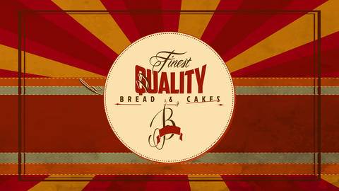 vintage cafe and bakery design selling finest quality bread and cakes with italic lettering written Animation