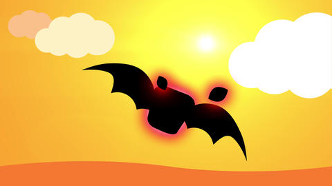 animation of ugly black bat with red aura and smoke coming out of his head flying into sunny Animation