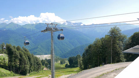 Cableway station. Rosa Khutor, Sochi, Russia Footage