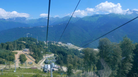 From ropeway cabin. Rosa Khutor, Sochi, Russia Footage