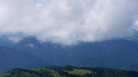 Mountains in the clouds. View from the Ridge Aibga, Sochi, Russia Footage