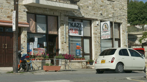 Street view in little mountain village, Cyprus. Grocery store. Vacation, tourism Footage
