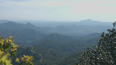 Vertical panorama of blue sky and mountains, beautiful green landscape, tourism Footage