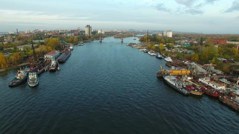 Aerial footage of Samara city docks Footage