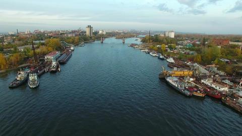 Aerial footage of Samara city docks Footage