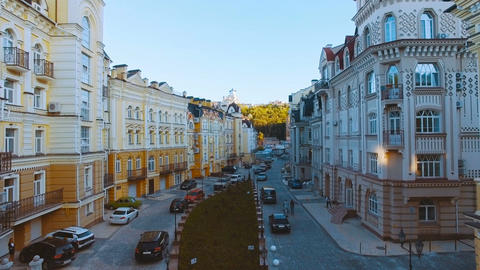 Aerial View of Buildings on the Old Narrow European Streets with Colorful Houses Footage