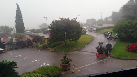 Heavy Rain on the Street Footage