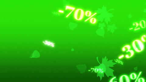 Greater spring discounts (dumping,%, percentages, purchase, sale). Artistic green background. 3D Animation
