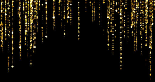 golden glitter sparkle rhombus particles bokeh flowing stars from top and down on black Live Action